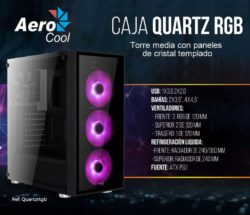CAJA ATX AEROCOOL QUARTZ RGB NEGRA ILUMINACION RGB precio