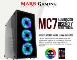 CAJA SEMITORRE TACENS MARS GAMING MC7 LATERAL Y FRONTAL CON CRISTAL TEMPLADO FRONTAL ILUMINADO CON 3 VENT. RGB 7 1xUSB3.0+2xUSB2.0 SIN FUENTE