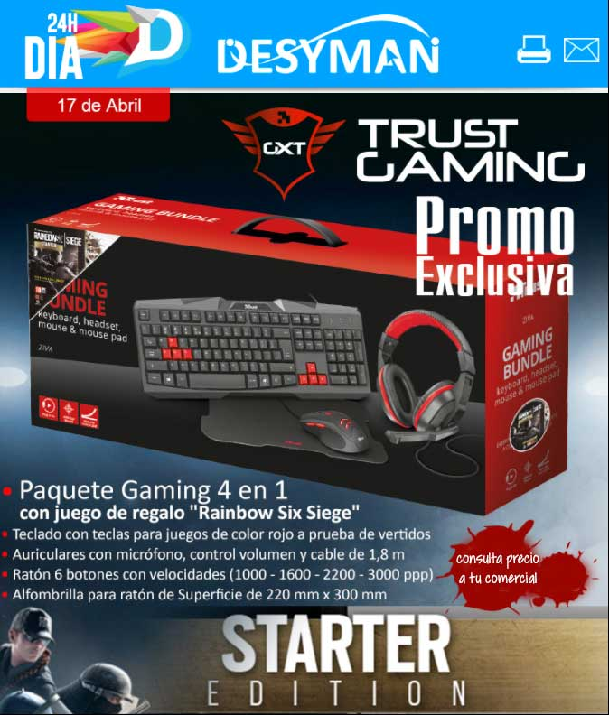 "BUNDLE ZIVA GAMING TECLADO, AURICULAR, MOUSE Y ALFOMBRILLA + JUEGO DE REGALO ""RAINBOW SIX SIEGE"" 22665"