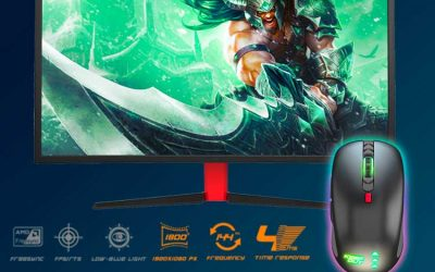 Oferta Monitor gaming curvo Keep Out + ratón X4