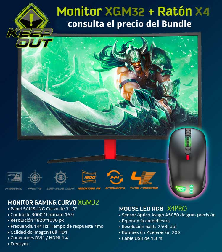 oferta monitor curvo keep out más raton