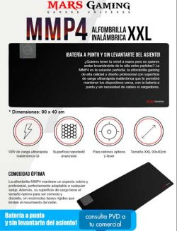ALFOMBRILLA TACENS MARS GAMING MMP4 CON SISTEMA DE CARGA RAPIDA INALAMBRICA QI , TAMAÑO XXL 900X400mm CON UN GROSOR DE 4.5mm