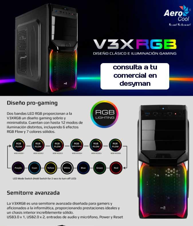 CAJA SEMITORRE AEROCOOL GAMING V3X RGB PGS SERIES 1xUSB 3.0 1xUSB 2.0 VENTILADOR DE 12CM