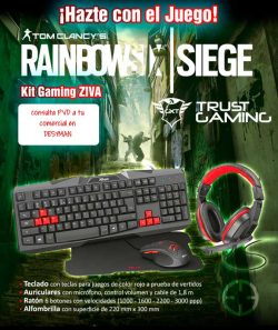 "BUNDLE ZIVA GAMING TECLADO, AURICULAR, MOUSE Y ALFOMBRILLA + JUEGO DE REGALO ""RAINBOW SIX SIEGE"""