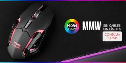 MOUSE WIRELESS MARS GAMING MMW OPTICO SIN CABLES 320DPI 6 BOTONES ILUMINACION RGB FLOW RECEPTOR USB 2.4Ghz