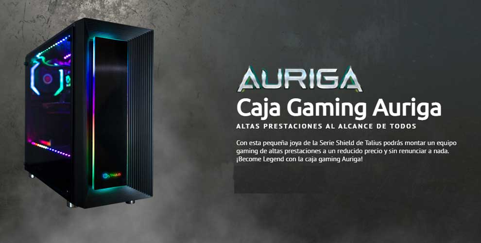 Caja ATX gaming Auriga con cristal templado